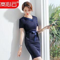Skyheart - Short-Sleeve Belted Sheath Dress