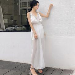 Edifil - Sleeveless Lace Trim Maxi Dress