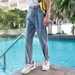 YERGO - 饰钮扣修身牛仔裤