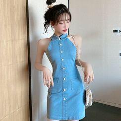 Aetherial - Halter-Neck Mini Sheath Denim Dress