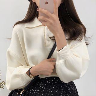 Aumoti - Puff-Sleeve Knit Polo Shirt