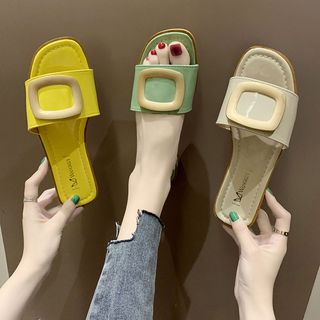 Anjay - Metal Accent Flat Slide Sandals