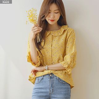 JUSTONE - Frilled-Collar Puff-Sleeve Floral Blouse