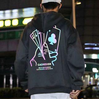 Wescosso - Reflective Print Hooded Sweatshirt