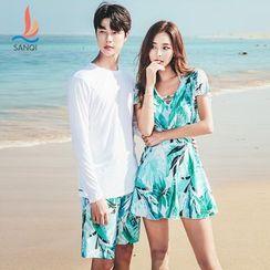 SANQI - Couple Matching Rash Guard / Shorts / Swim Dress / Set