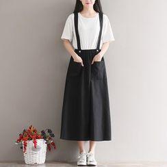 Sulis - Pocketed Midi Suspender Skirt