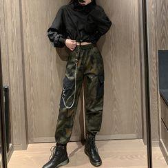 PokkaMoma - 短款卫衣 / 迷彩印花工装裤 / 套装