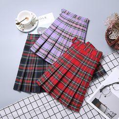 Bloomflo - Plaid Pleated Skirt
