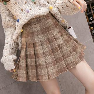 Isaaca - Plaid Mini A-Line Skirt
