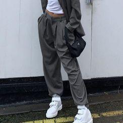 BrickBlack - High-Waist Pinstriped Wide-Leg Dress Pants