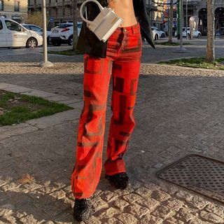 BrickBlack - Patterned Straight Leg Pants