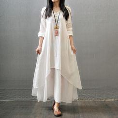 Einshine - Mock Two-Piece Long-Sleeve Maxi Shift Dress