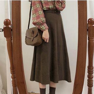 Leoom - Plain Midi A-Line Skirt