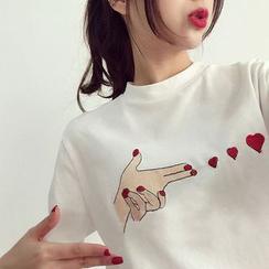 Carmenta - Elbow-Sleeve Print T-Shirt