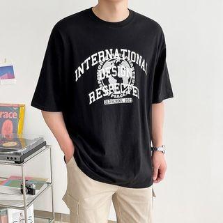Seoul Homme - Globe Letter Print T-Shirt