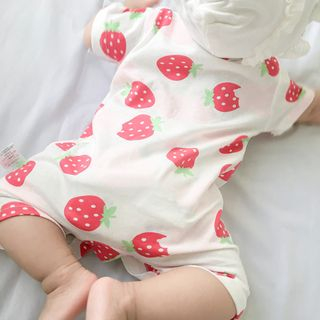 MOM Kiss - Baby Fruit Print Short-Sleeve One-Piece