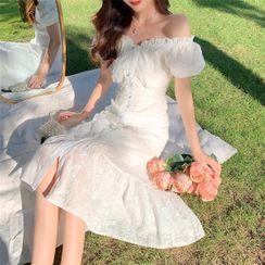 Windflower - Puff-Sleeve Off-Shoulder Midi Mermaid Dress