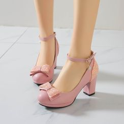 Freesia - Ankle-Strap Ribbon Chunky-Heel Pumps