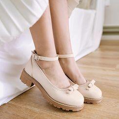 Lolita Tree - 蝴蝶結踝帶粗跟鞋