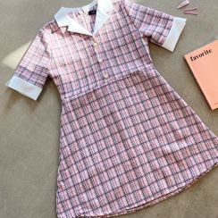 Cherryville - Button-Trim Plaid Minidress