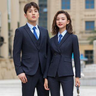 Formsus - Couple Matching Pinstriped Blazer / Pencil Skirt / Dress Pants /  Vest / Set