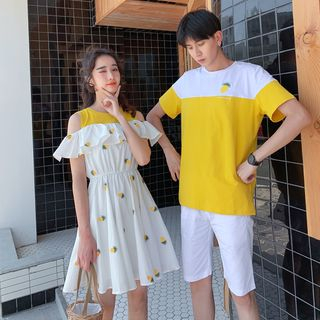 Balak - Couple Matching Pineapple Embroidered Cold Shoulder A-Line Dress / Color Block Short-Sleeve T-Shirt / Plain Shorts