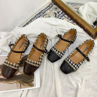 Novice(ノバイス) - Houndstooth Faux Leather Panel Mary Jane Flats