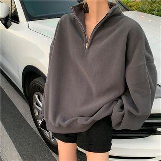 Haloumi - Long-Sleeve Plain Zip Sweatshirt