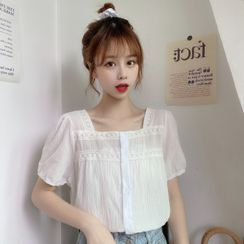 Honey Diary - Lace Trim Short Sleeve Square Neck Blouse