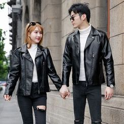 Bay Go Mall - Couple Matching Faux Leather Zip Jacket