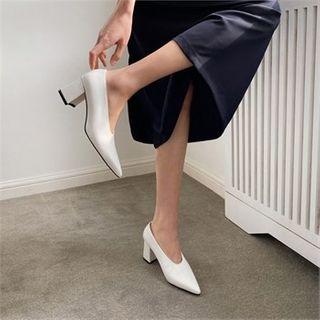 MONOBARBI - Pointy-Toe Block-Heel Pumps