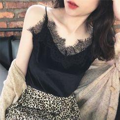 Gwendolyn - Lace Trim Velvet Camisole