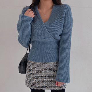 MERONGSHOP - Tube-Hem Wrap Rib-Knit Top
