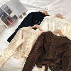 DIYI - 純色V領麻花針織繫帶長袖毛衣