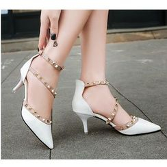 Anjay - Studded Ankle Strap Pumps