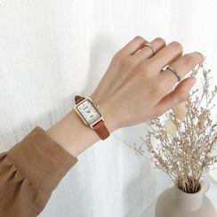 ONAJI - Rectangle Faux Leather Strap Watch