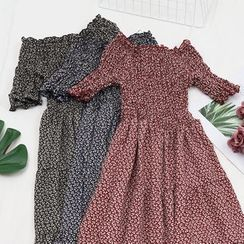 Be Bonita - Floral Smocked Elbow-Sleeve A-Line Dress