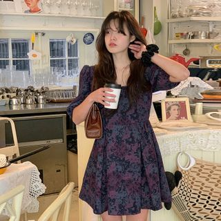 FROMBEGINNING - Puff-Sleeve Floral Babydoll Dress