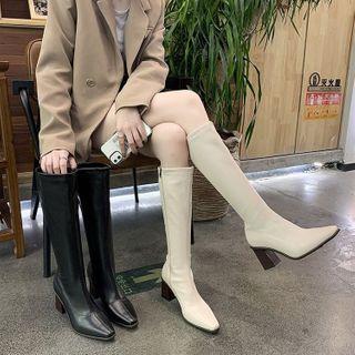 hunigala - Plain Pointy-Toe Chunky Heel Tall Boots