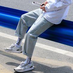 Really Point - 字母印花直筒牛仔裤