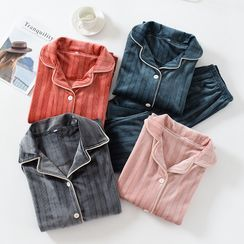 Dogini - Couple Matching Pajama Set: Flannel Shirt + Lounge Pants