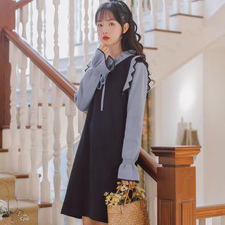 Hansme - Mock Two-Piece Long-Sleeve Knit Dress