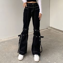 Genrovia - Contrast Stitch Boot Cut Jeans with Tonal Leg Straps