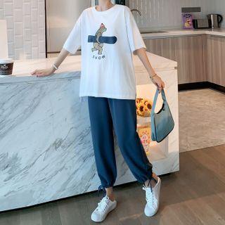 Ikanox - Maternity Set: Short-Sleeve Bear Print T-Shirt + Harem Pants
