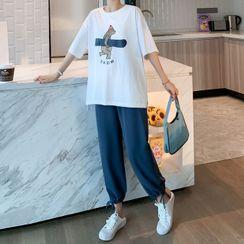 Ikanox - 孕婦套裝: 短袖熊印花T裇 + 哈倫褲