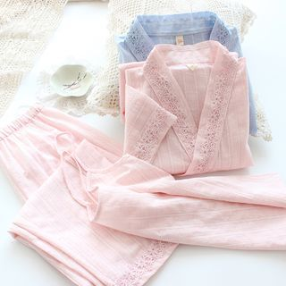 Dogini - 睡衣套装: 吊带背心 + 日式外套 + 家居裤