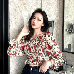 Tanee - Floral Long-Sleeve Cropped Blouse