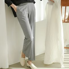 JUSTONE - Houndstooth Straight-Cut Pants