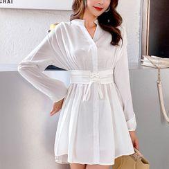 Vinales - Tie-Waist A-Line Mini Shirtdress