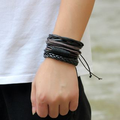 KINNO - Set of 4: Genuine Leather Bracelets